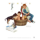 Norman Rockwell 'A Lickin' Good Bath' art Poster