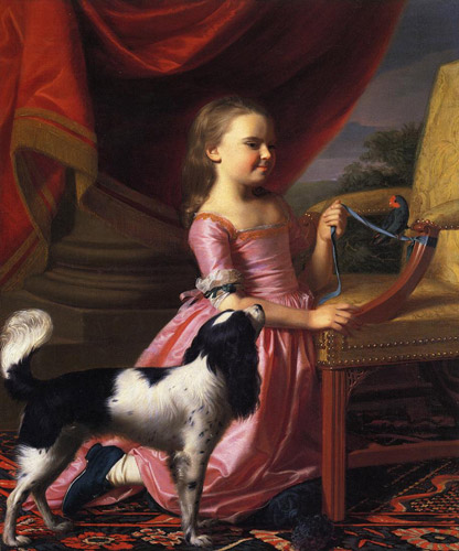 Young Lady with a Bird & a Dog