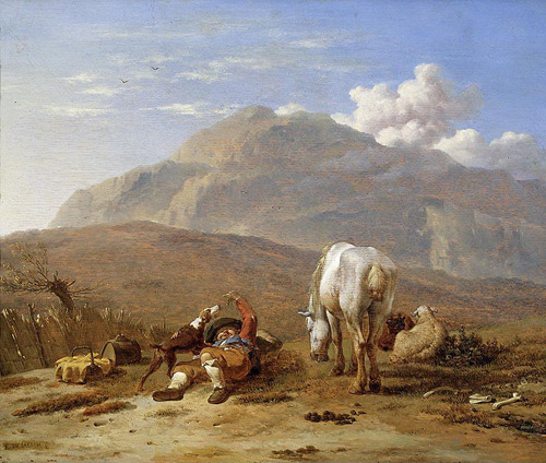 Southern landscape with young shepherd and dog