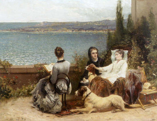 Belgian summer by the sea ladies with their dogs