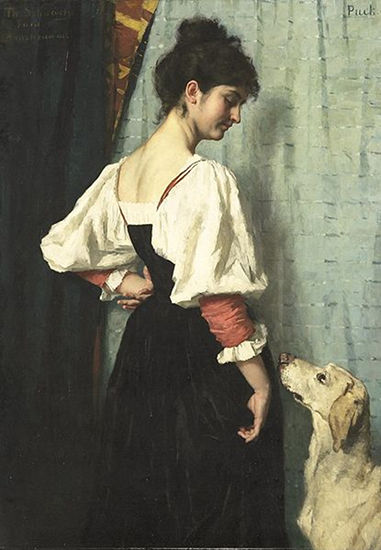 Young Italian woman with a dog called Puck