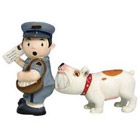 Dog Biting Mailman Salt & Pepper Shakers