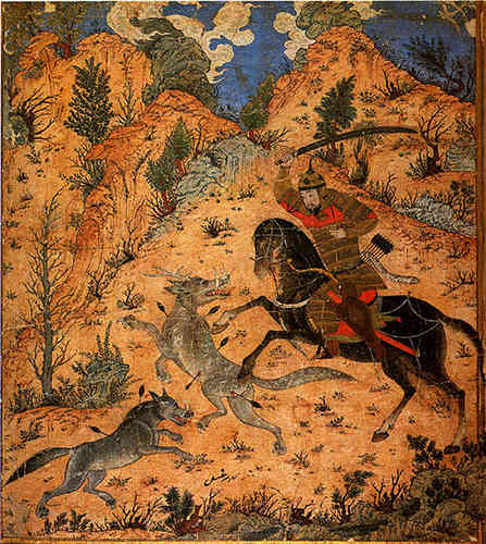 Isfandiyar fights with the Wolves